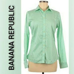 Banana Republic Button Down Striped Green White 8